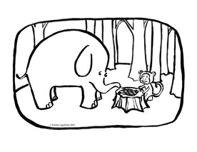 elephant and monkey coloring book page